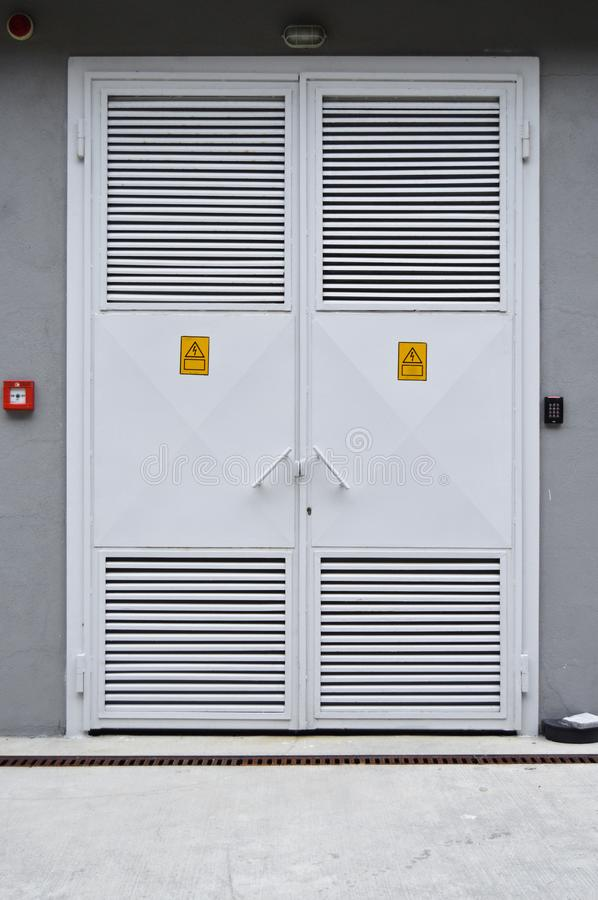 White color, iron electric room door stock image