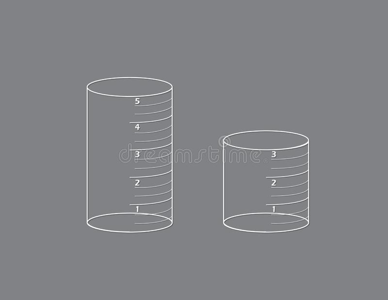White color set of measurement tubes or containers for chemistry students for research and science vector illustration on black ba stock illustration