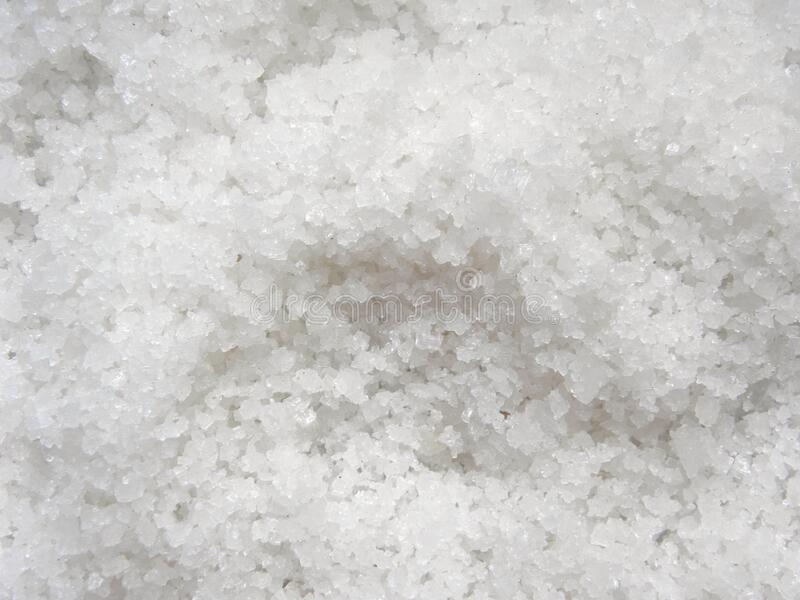 White color solar salt crystals stock photo