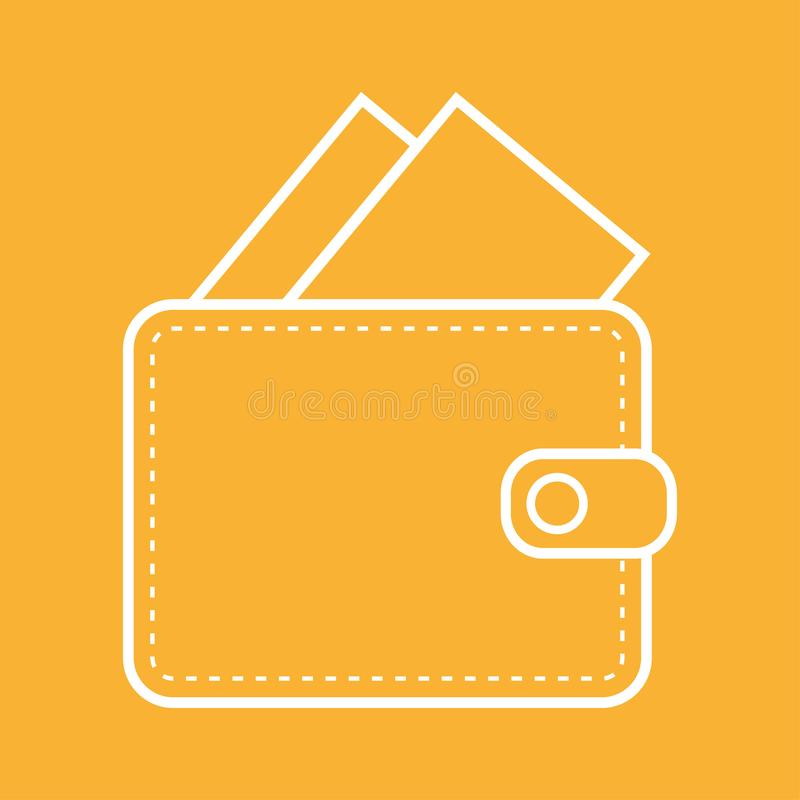 White color Wallet outline with money icon vector eps10. Wallet oultine with card or banknoutes on orange background stock illustration