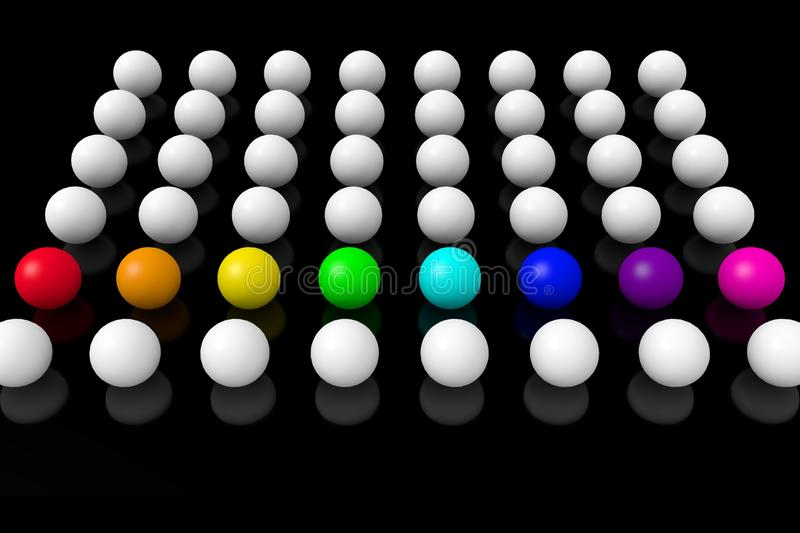 White and colored balls on a black background. vector illustration