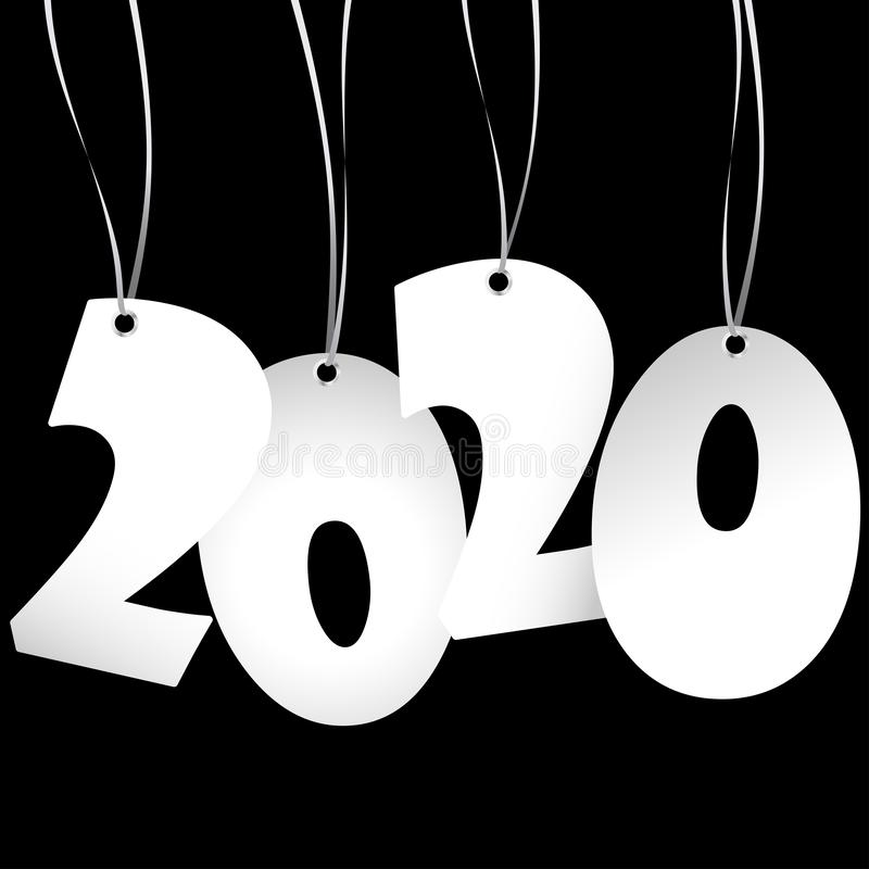 Hang tags with year 2020. White colored hang tag numbers for New Year 2020, years, eve, day, celebration, beginning, happy, fireworks, holiday, pendant, hangtag vector illustration