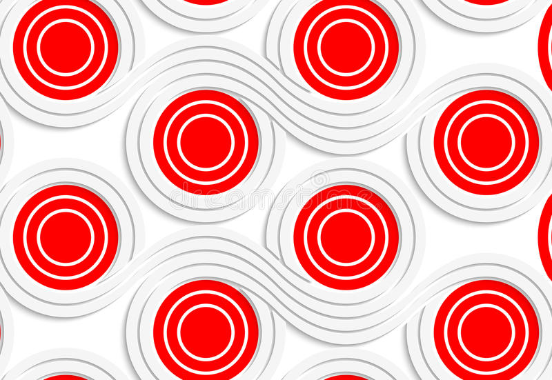 White colored paper red spools merging royalty free illustration