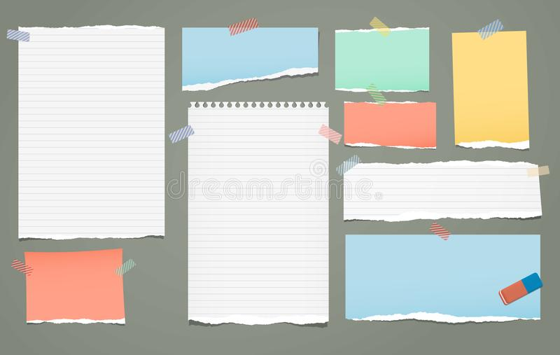 White and colorful lined torn note, notebook paper pieces for text stuck with sticky tape on green background. Vector royalty free illustration