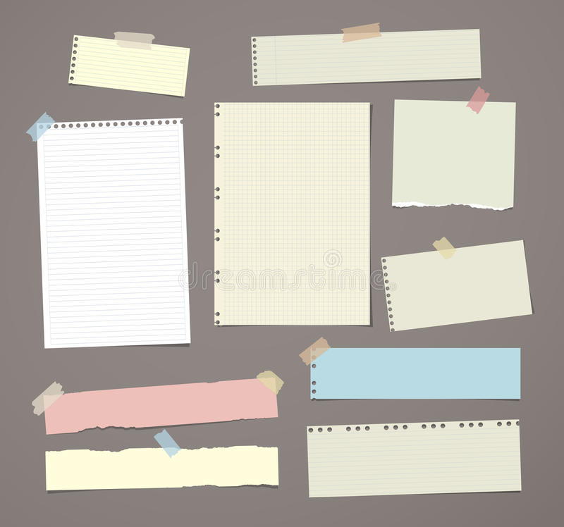 White and colorful striped note paper, copybook, notebook sheet stuck with adhesive tape on dark brown background. White and colorful striped note paper vector illustration