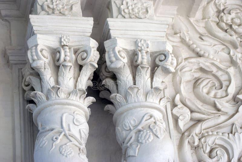 White columns. Architecture of Trinity Sergius Lavra in Russia stock photography