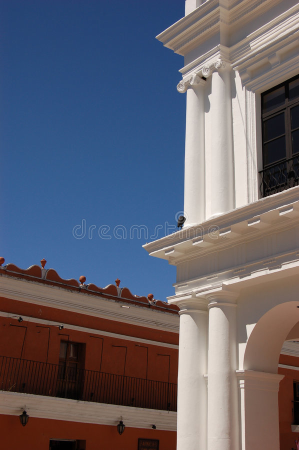 White Columns on a Building royalty free stock photo