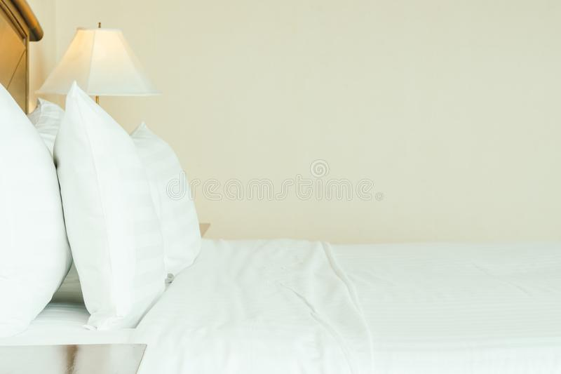 Pillow on bed stock photography