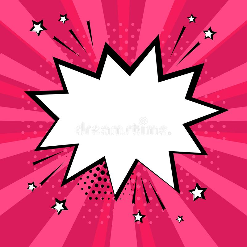 White comic bubble on pink background. Vector illustration royalty free illustration