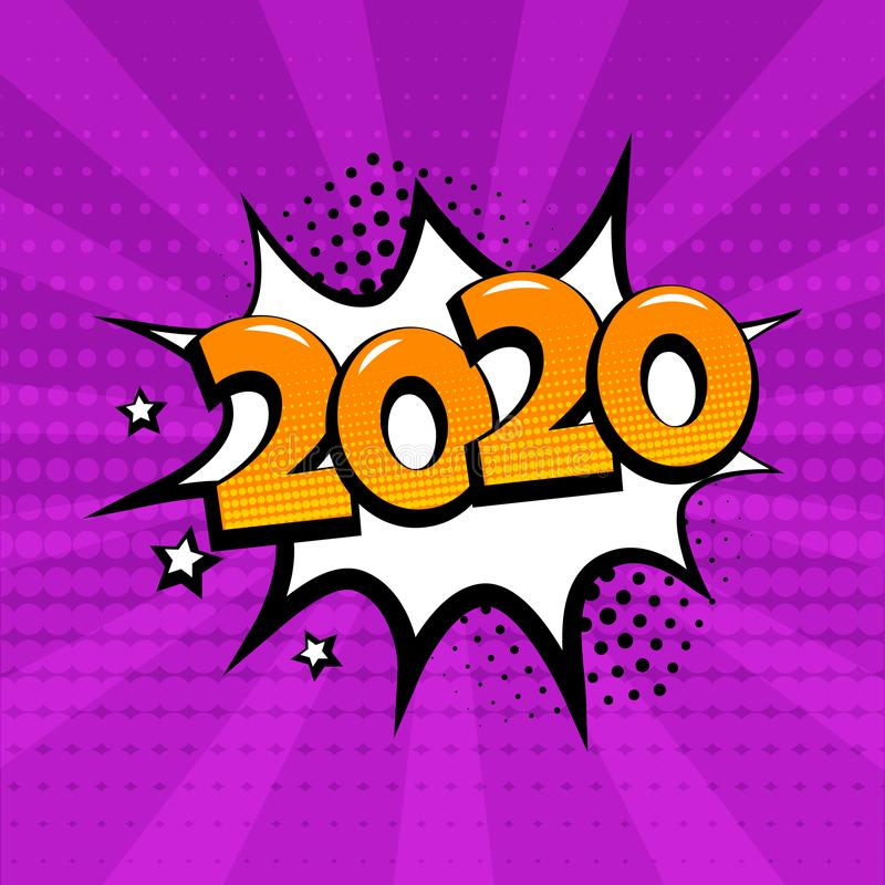 White comic bubble with 2020 word on purple background. Comic sound effects in pop art style. Vector. Illustration vector illustration