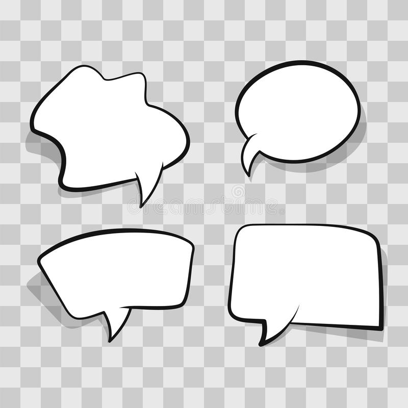 White comic speech bubble isolated on transparent background. Set empty speech bubble, cloud comic template on clear stock illustration