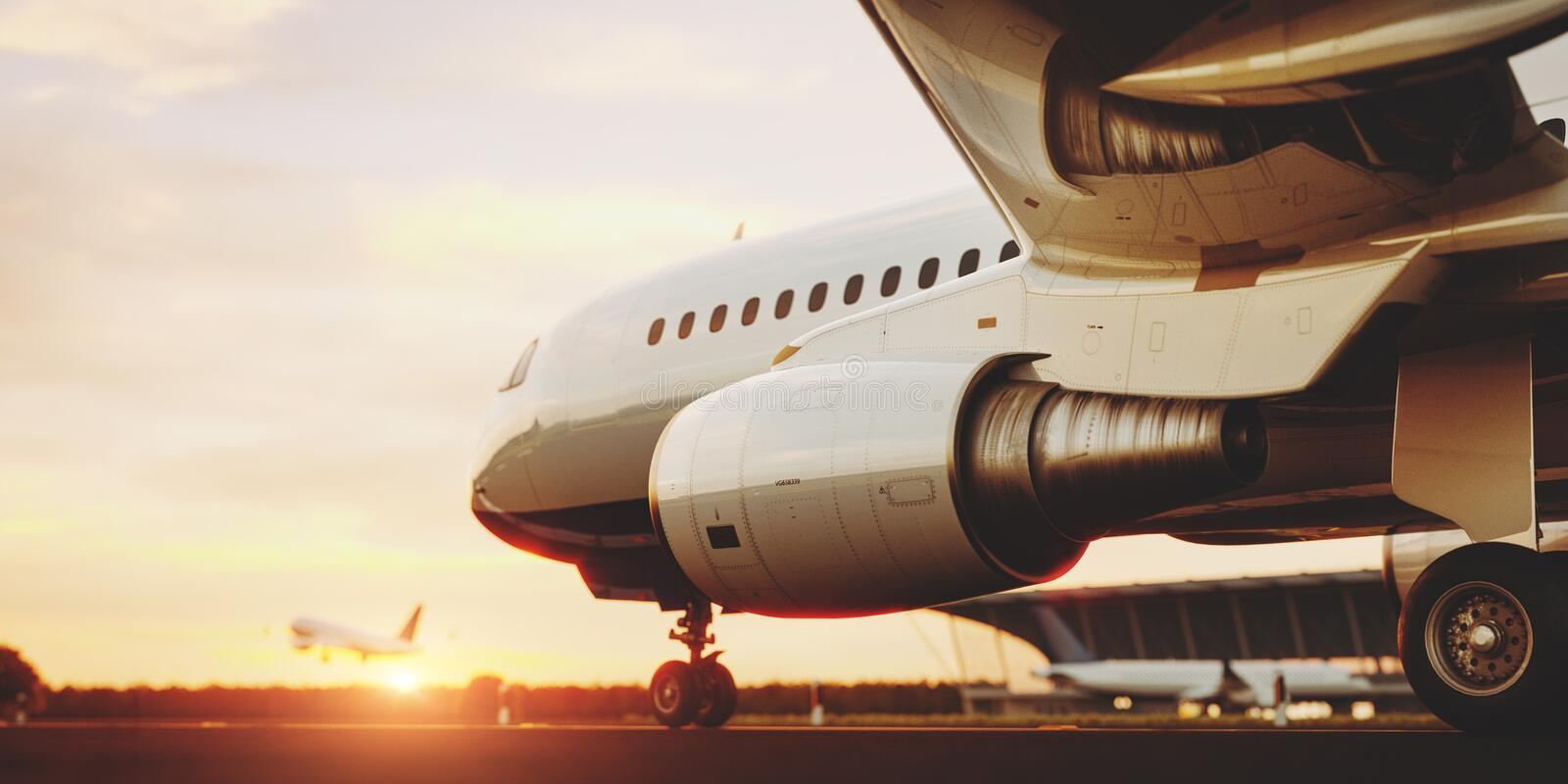 White commercial airplane standing on the airport runway at sunset. Passenger airplane is taking off. White commercial airplane standing on the airport runway vector illustration
