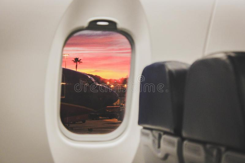 White Commercial Plane Window royalty free stock photos