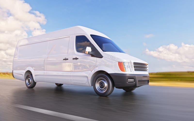 White Commercial Van on the Road Motion Blurred 3d Illustration stock illustration