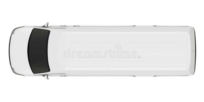 White Commercial Van Top View απομόνωσε στην άσπρη τρισδιάστατη απεικόνιση απεικόνιση αποθεμάτων