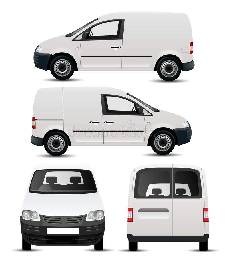 White Commercial Vehicle Mockup. From four angles vector illustration