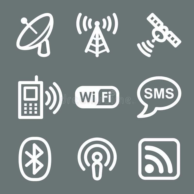 Download White Communication Web Icons Editorial Image - Illustration of gray, white: 6808725