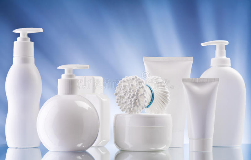 White composition of care supplies stock images