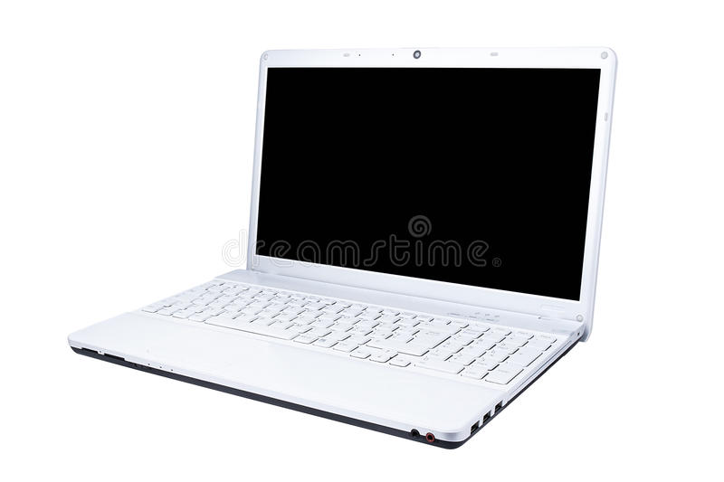 White Computer Laptop Three Quarters View Isolated stock photo