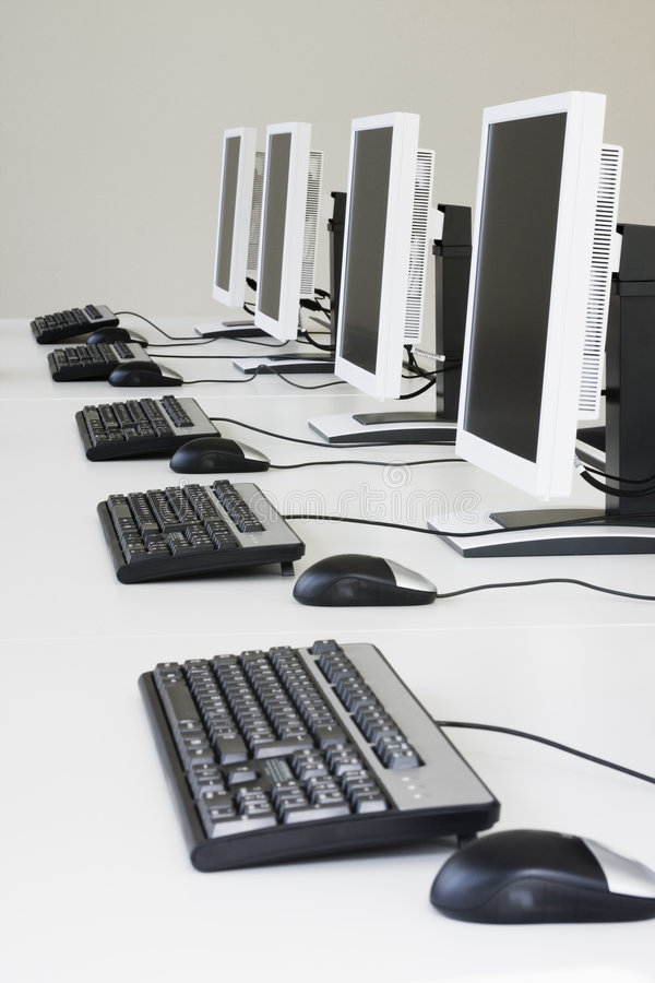 White computers stock images