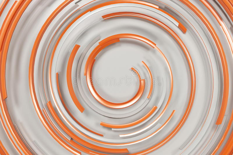 White concentric spiral with orange glowing elements on white ba royalty free illustration