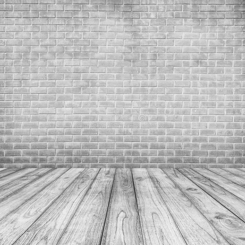 White Concrete brick walls and wood floor for text and background. White Concrete brick walls and wood floor for text royalty free stock photos