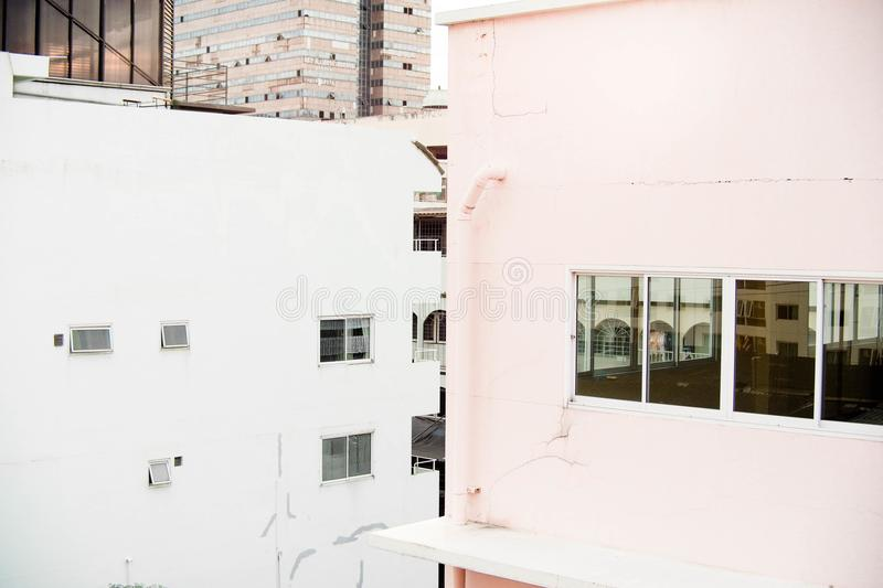 White Concrete Building stock images