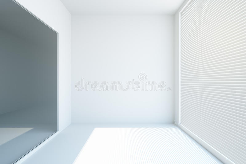 White concrete interior. Front view of white concrete interior with blinds on window. Mock up, 3D Rendering vector illustration