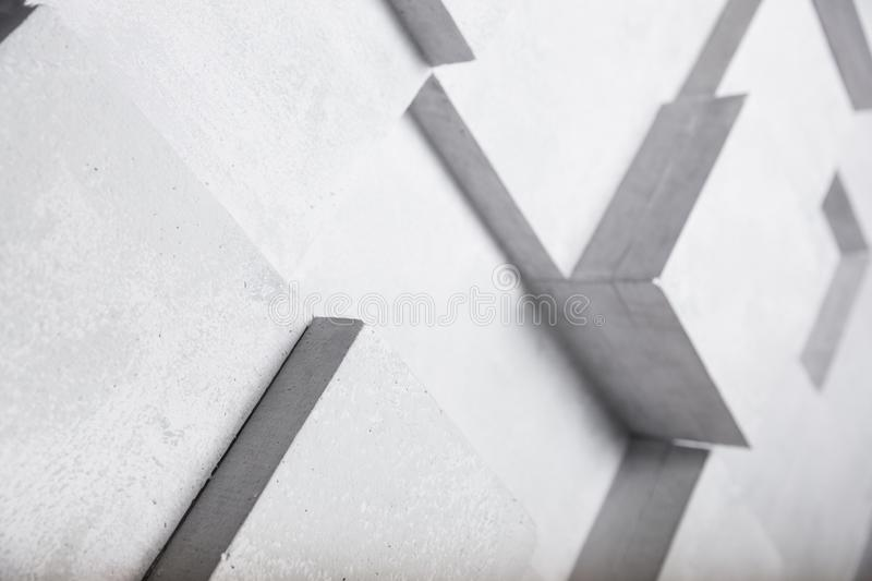 White concrete wall with cube geometry decoration background stock illustration