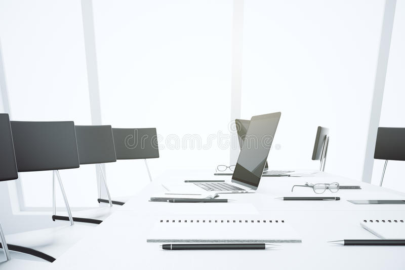 Download White Conference Table With Laptop And Accessories Stock  Illustration   Illustration Of Background, Grass