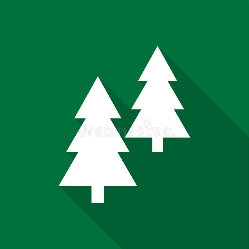 White coniferous trees icons with long shadow on green background. vector illustration