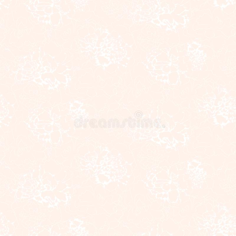 White contours of abstract flowers on softness pink background. royalty free illustration