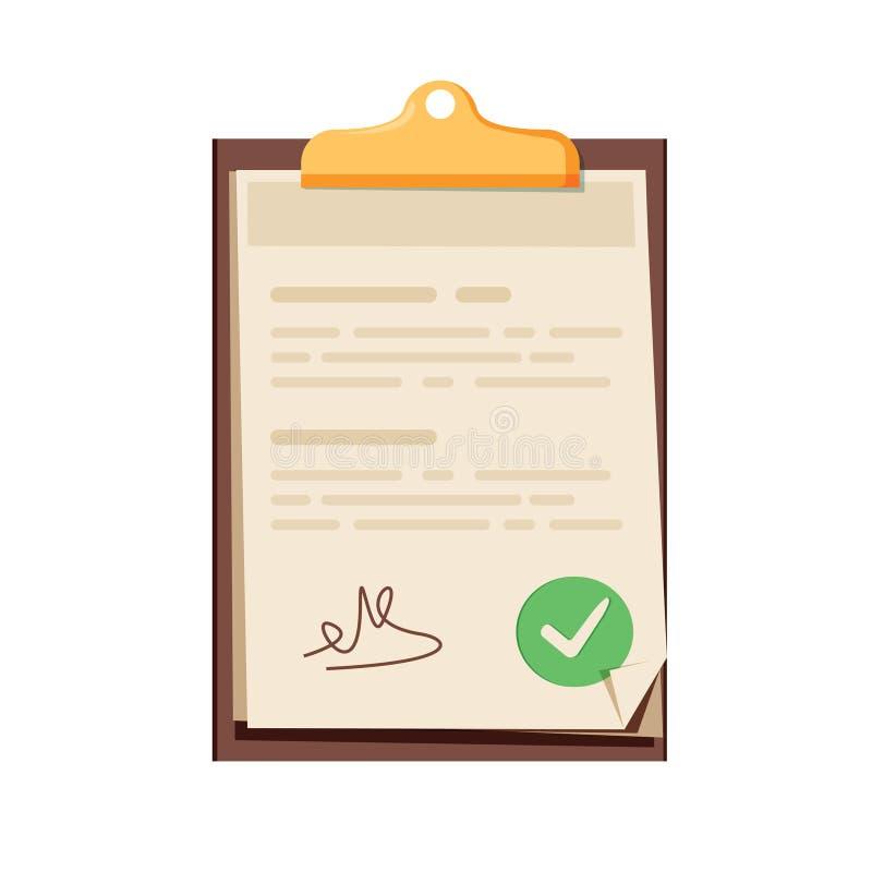 White contract document like treaty. flat cartoon smart trend mo stock illustration