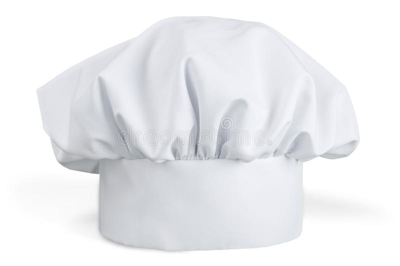 White cooks cap isolated on white background. White cook cap white background single object color image professional occupation stock photo
