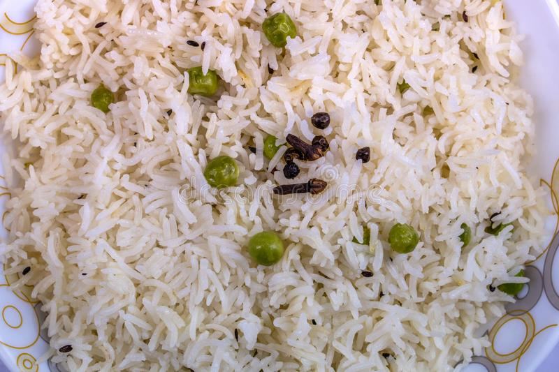 White cooked rice in bowl closeup view stock photos