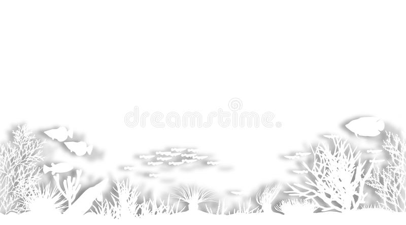 White coral. Illustrated foregound of white cutout sea coral silhouettes royalty free illustration