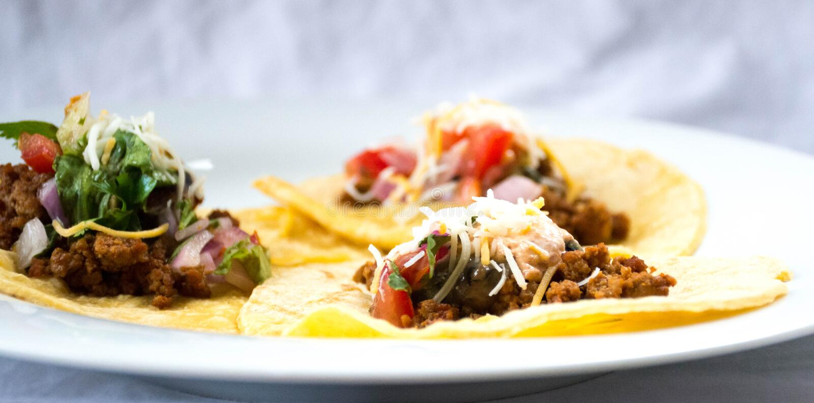 Soft Tacos. White Corn Tortilla served with ground Turkey, guacamole, and sprinkled with cheese. Soft tacos with white corn royalty free stock image
