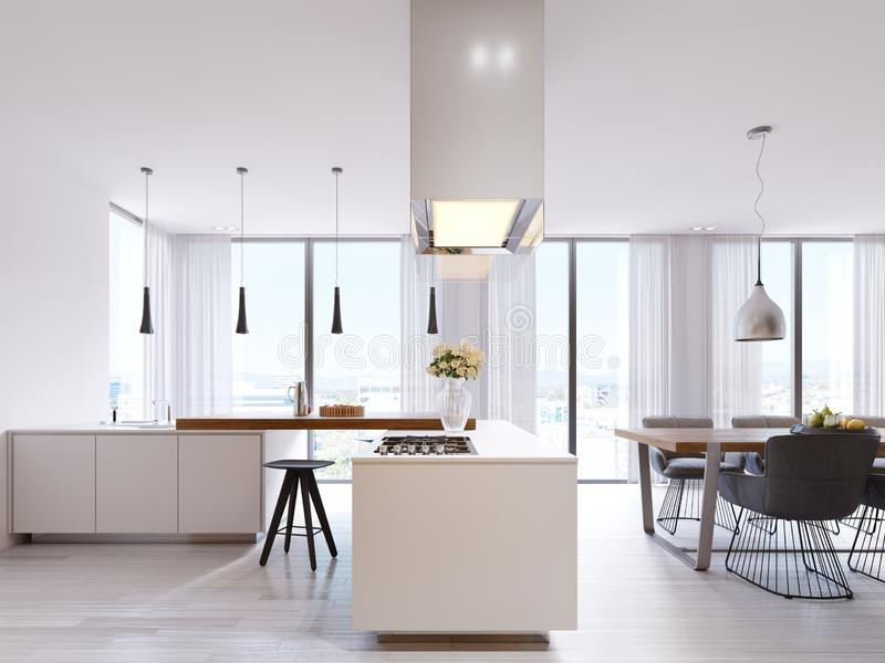 White corner kitchen in contemporary style, with bar top and black chairs. Suspended lamps and square hood, panoramic windows and. Dining area. 3d rendering royalty free illustration