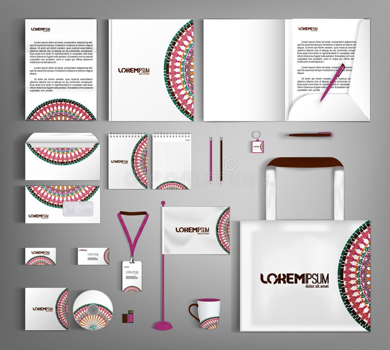 White corporate identity template with ethnic ornament. Vector company style for brand book and guideline royalty free illustration