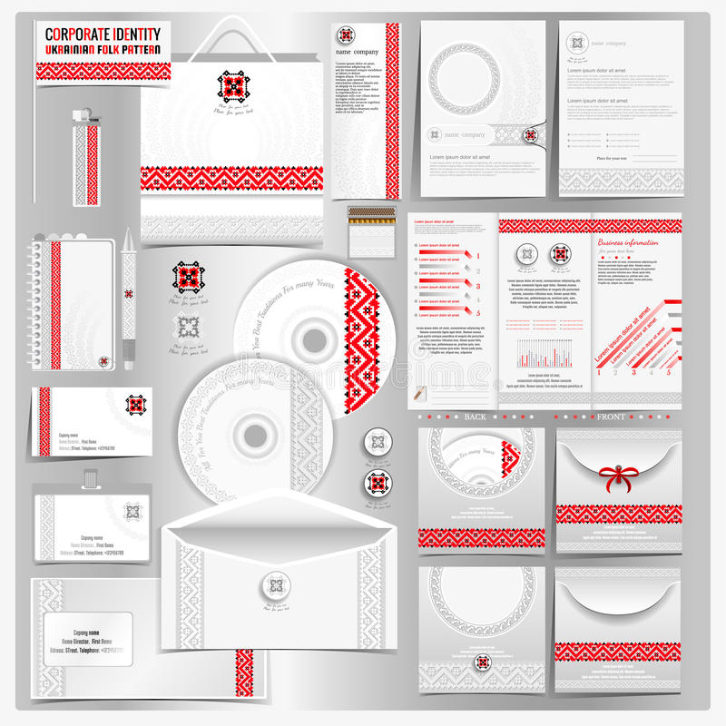 White corporate identity template with Ukrainian folk embroidery pattern vector illustration