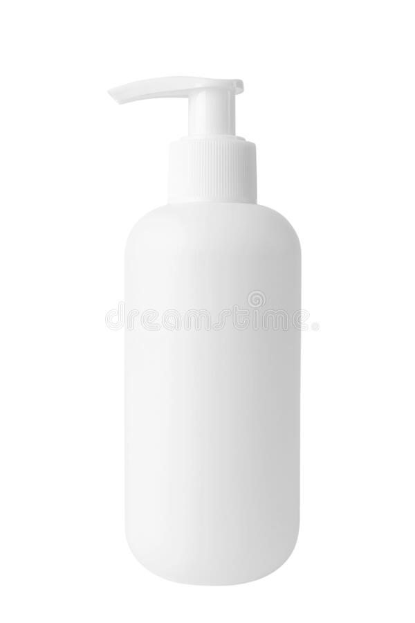 White cosmetic bottle with dispenser without a label on a white background. Bottle for mockup, copyspace, minimalism. The concept of beauty, cosmetology royalty free stock images