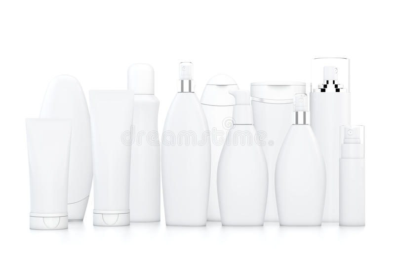 White cosmetic bottles. On white background in two rows vector illustration