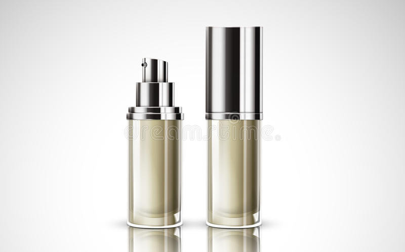 White cosmetic bottles. Two white cosmetic containing bottles, one with cap and one without, 3d illustration royalty free illustration