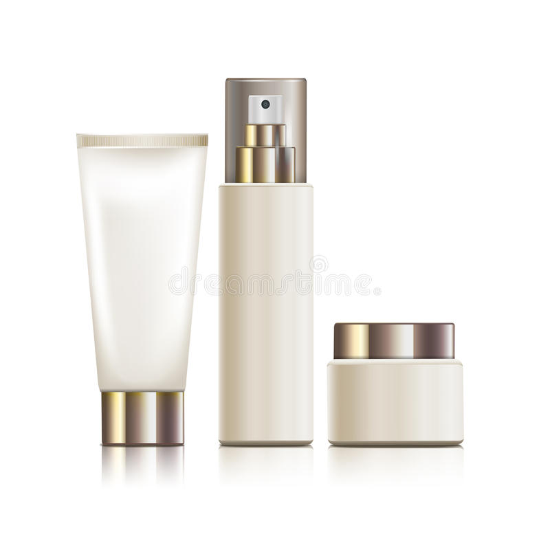 White cosmetic containers. Three different white cosmetic containers, 3d illustration