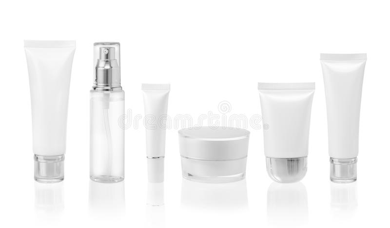Set of cosmetic containers. White cosmetic containers on white background stock photo