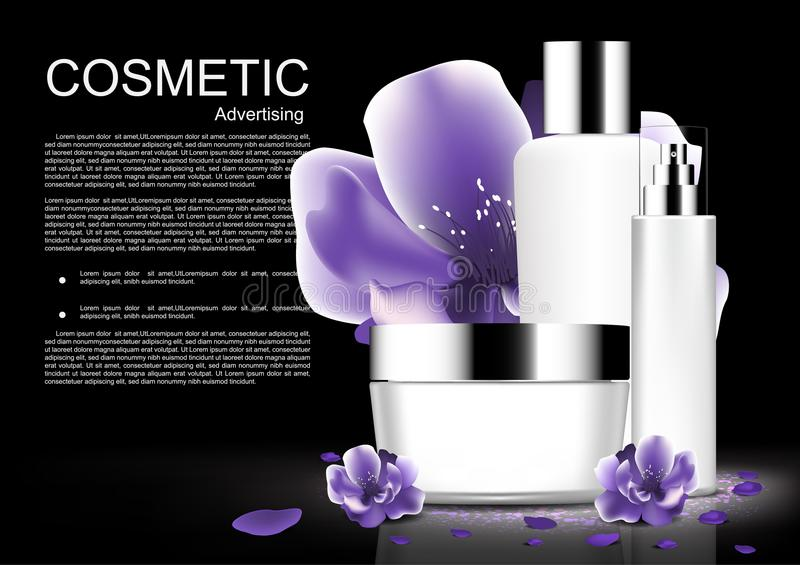 White cosmetic set with purple blooming flowers and template vector white cosmetic collection stock illustration