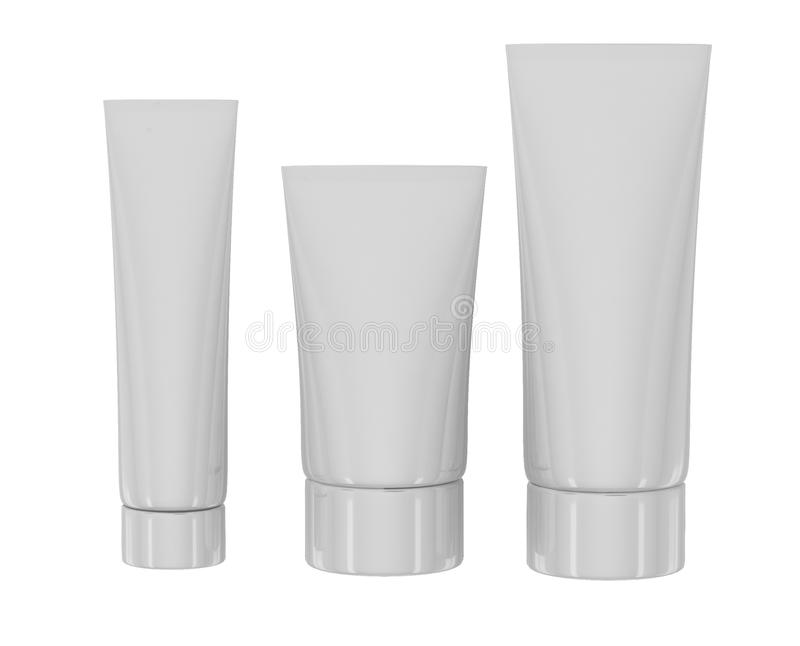 White cosmetic tubes on white backgrounde vector illustration