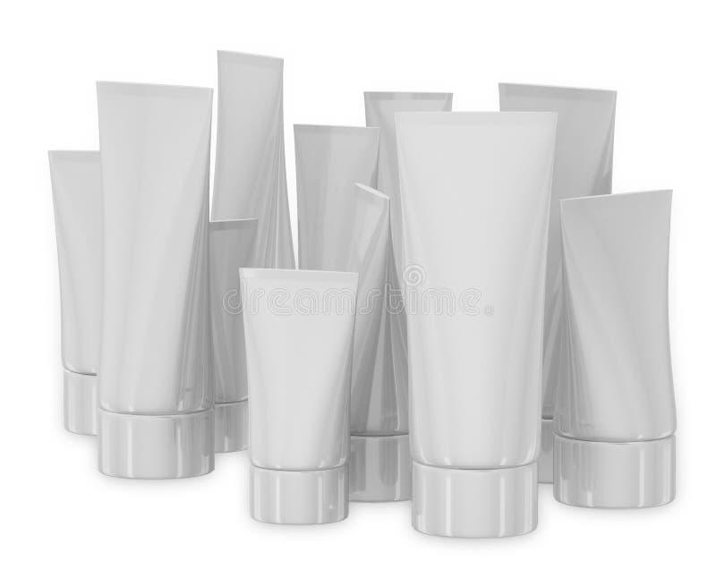 White cosmetic tubes on white backgrounde royalty free illustration