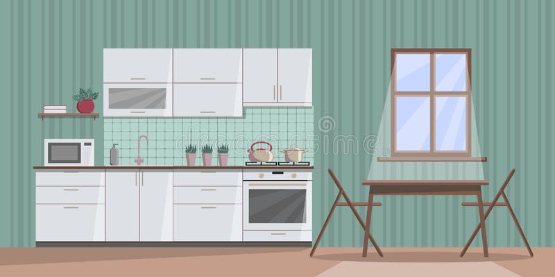 White cosy kitchen interior at night with moonlight from the window, with furniture, table, chairs, sink, stove, microwave oven, royalty free illustration