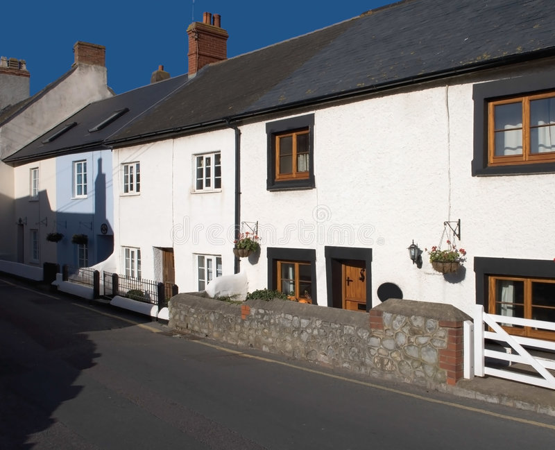 White Cottages Main Street. Watchet town somerset england uk cottages row stock photo